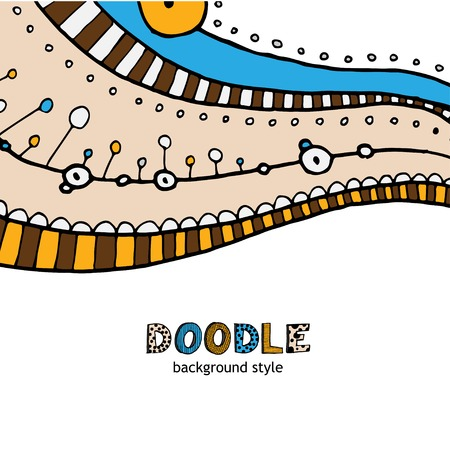 doddle: Vector hand drawing doddle ethnic pattern. Background with geometric elements.