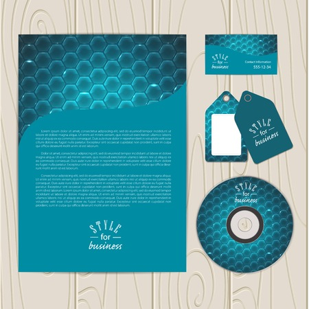 electric grid: Vector corporate identity template. Business card, disc, document, tag.