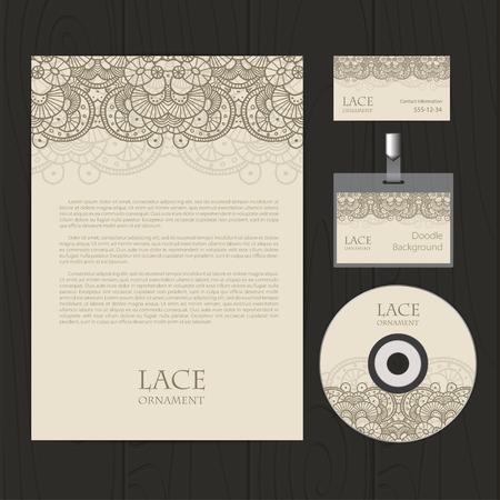 bage: Vector retro corporate identity template with lace elements. Business card, disc, document, bage. Illustration