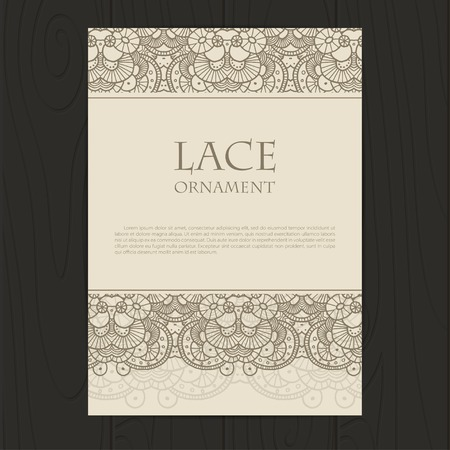 Vector retro corporate identity template with lace elements. Çizim