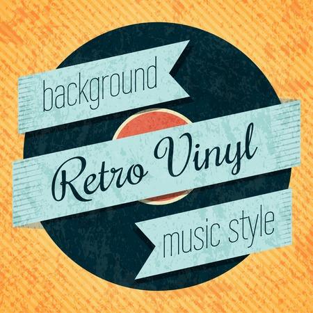 record label: Vector retro color vinyl record card.
