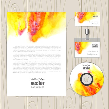 bage: Vector corporate identity template with watercolor elements. Business card, disc, document, bage.