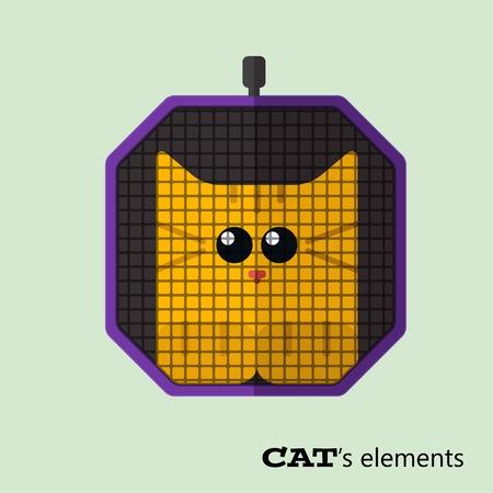 Tabby cat in pet carrier Illustration