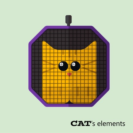 cat carrier: Tabby cat in pet carrier Illustration