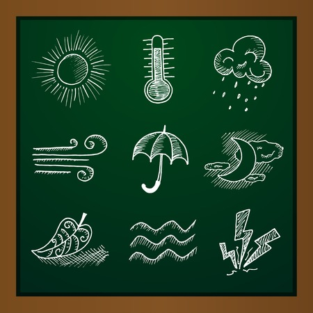 sketching: hand draw weather icon set