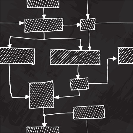 felt tip: Vector hand draw flowchart seamless background Illustration