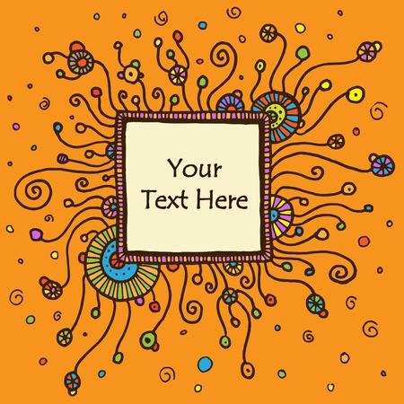 textbox: Vector round retro ornament with square textbox.