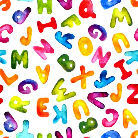 Vector watercolor hand-draw colorful alphabet seamless pattern.  Illustration