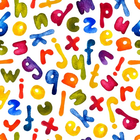 handdraw: Vector watercolor hand-draw colorful alphabet seamless pattern.  Illustration