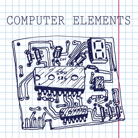 condenser: Vector hand draw computer circuit board on paper.