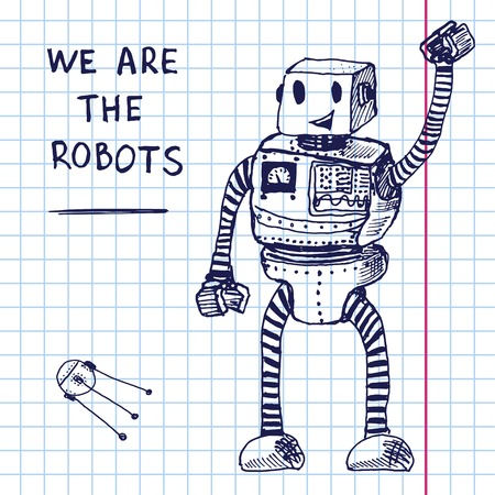 Vector hand draw robot on exersize book.
