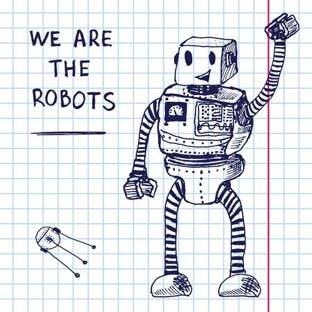 Vector hand robot tekenen op exersize boek. Stock Illustratie