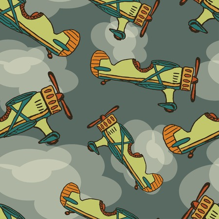 Vector hand draw cartoon airplane seamless background.  Vector