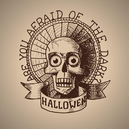 dying: Vector retro halloween hand draw skull.