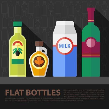 aceite de cocina: Establece el color del vector botella cocina plana.