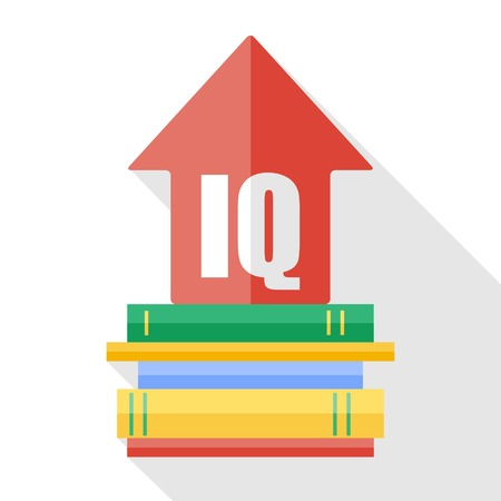iq: Vector flat IQ increase icon. Reading books increases the level of intelligence Illustration