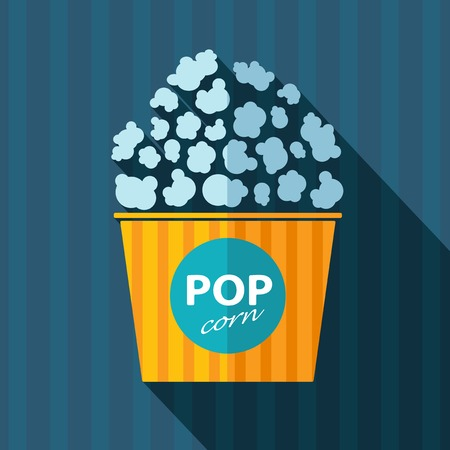eating popcorn: Vector flat isolate retro popcorn icon.
