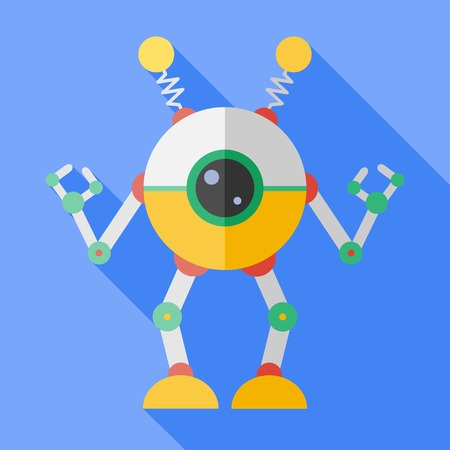 robot toy: Vector flat retro color robot toy.