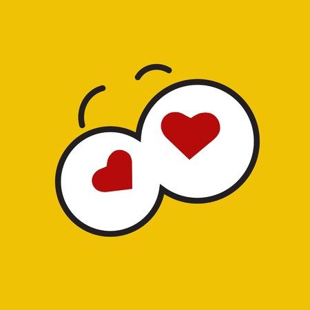 Vector funny cartoon eyes. Yellow hearts.