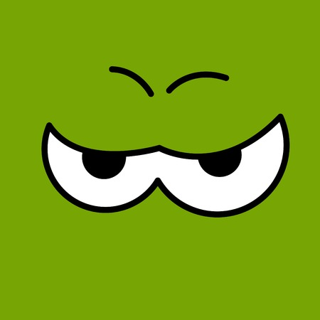 discontent: Vector funny cartoon eyes. Two green.  Illustration