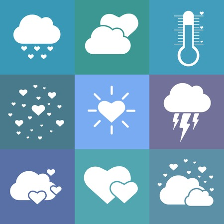 Flat love weather icons. Blue. Valentines day.  Vector