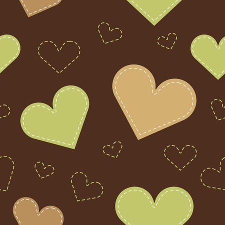 hearts background: Seamless hearts background. brown-green. Vector