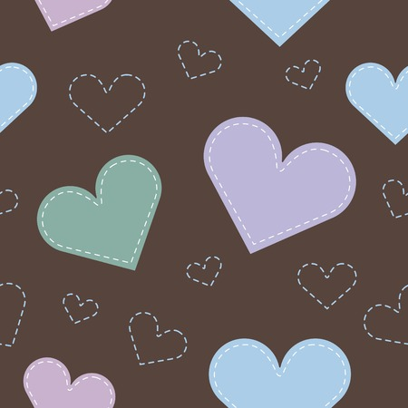 hearts background: Seamless hearts background. brown-purple-blue. Vector  Illustration