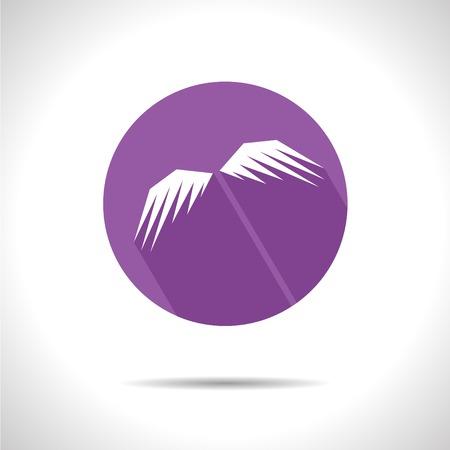 wings icon: Vector piano con le ali ombra icona. Vettoriali