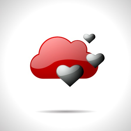gloss: Vector gloss color weather icon. Lift gray hearts.  Illustration