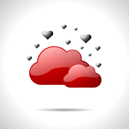 gloss: Vector gloss color weather icon. Red clouds.  Illustration