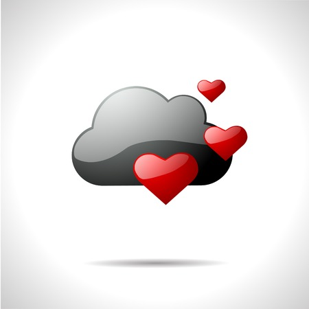 gloss: Vector gloss color weather icon. Lift hearts.