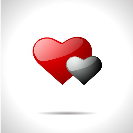 gloss: Vector gloss color  weather icon. Two hearts.