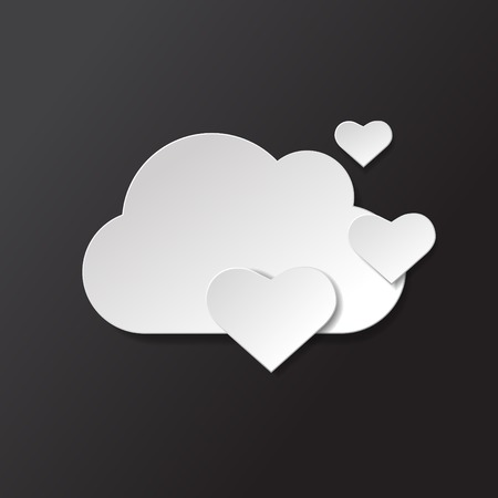 soar: Vector weather icon. Black and white lift hearts.
