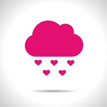 downfall: Vector color weather icon. Pink rain.