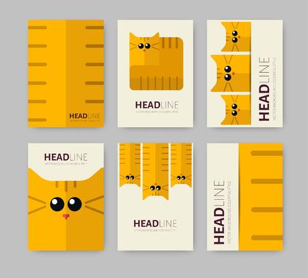 zoo: Ilustración del vector con gatos plana de fondo geométrico. Plantilla para Empresas folleto, Pancarta, Póster, Folleto de Diseño. Estilo Zoo.