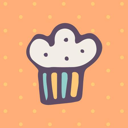 solemn: Easter doodle cake icon in flat design Illustration