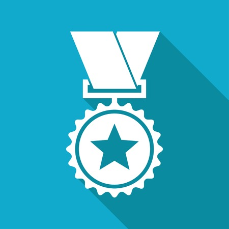 Vector flat white medal icon with long shadow on blue background. Winner award.   Çizim