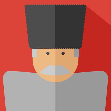 georgian: Vector flat design georgian old man. National people.
