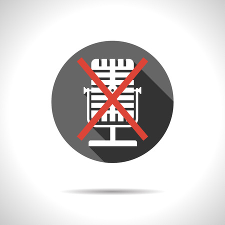 off the record: Vector flat style crossed microphone icon.