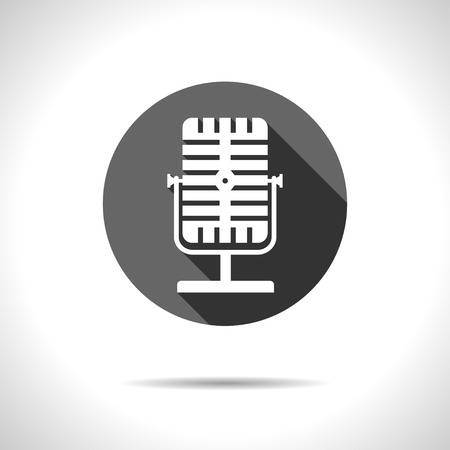oldie: Vector flat style retro microphone icon.