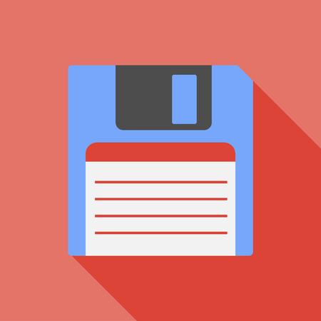 inch: Vector flat style retro floppy disk.