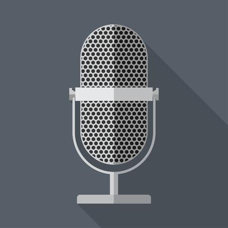 entertaining presentation: Vector flat style retro microphone icon.