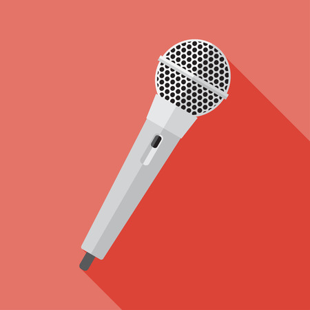 customer records: Vector flat style hand microphone icon.