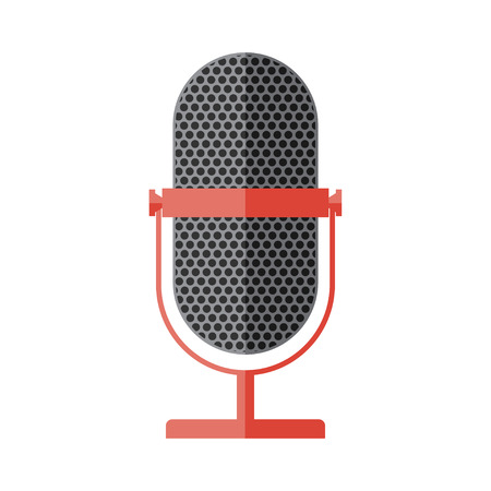Vector flat style retro microphone icon.
