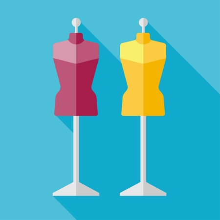 vintage dress: Vector flat two tailor models icon. Tailor sing.  Illustration