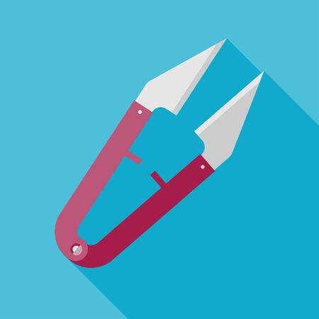 ripper: Vector flat tailor seam ripper icon. Tailor sing.    Illustration