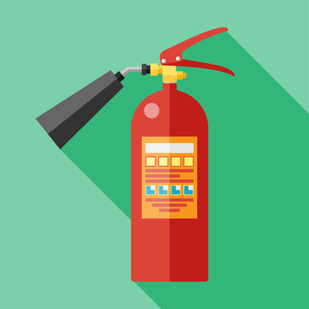 fire protection: Vector flat fire extinguisher icon.