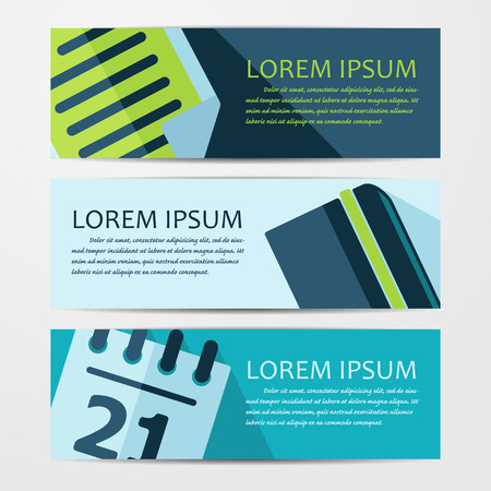website plan: Vector business flat background. Set of three banners.