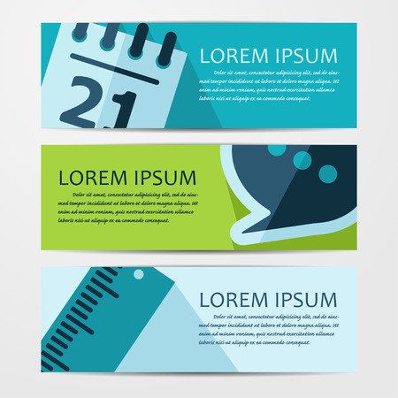Vector business flat background. Set of three banners.