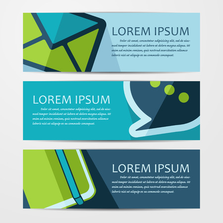 paper banner: Vector business flat background. Set of three banners.